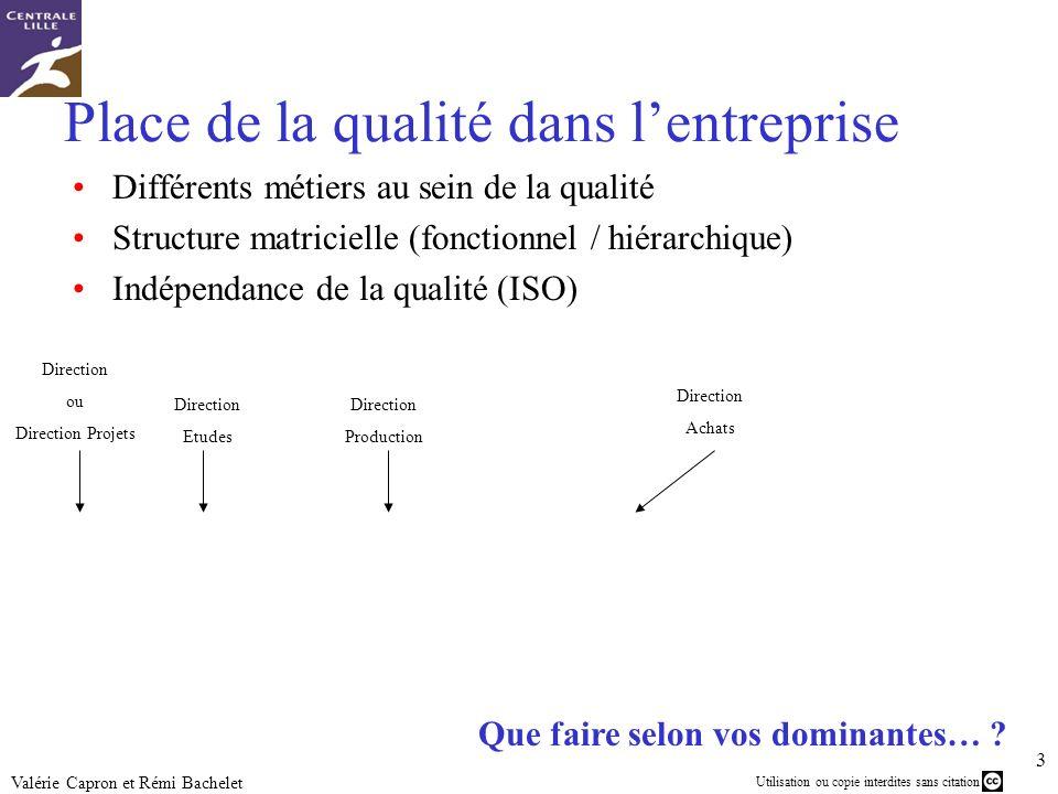 Utilisation ou copie interdites sans citation 3 Valérie Capron et Rémi Bachelet PDG Direction Qualité (et amélioration continue) Responsable(s) qualit