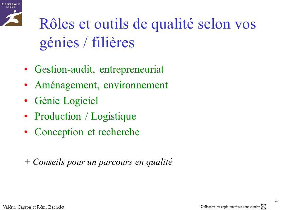 Utilisation ou copie interdites sans citation 4 Valérie Capron et Rémi Bachelet Rôles et outils de qualité selon vos génies / filières Gestion-audit,