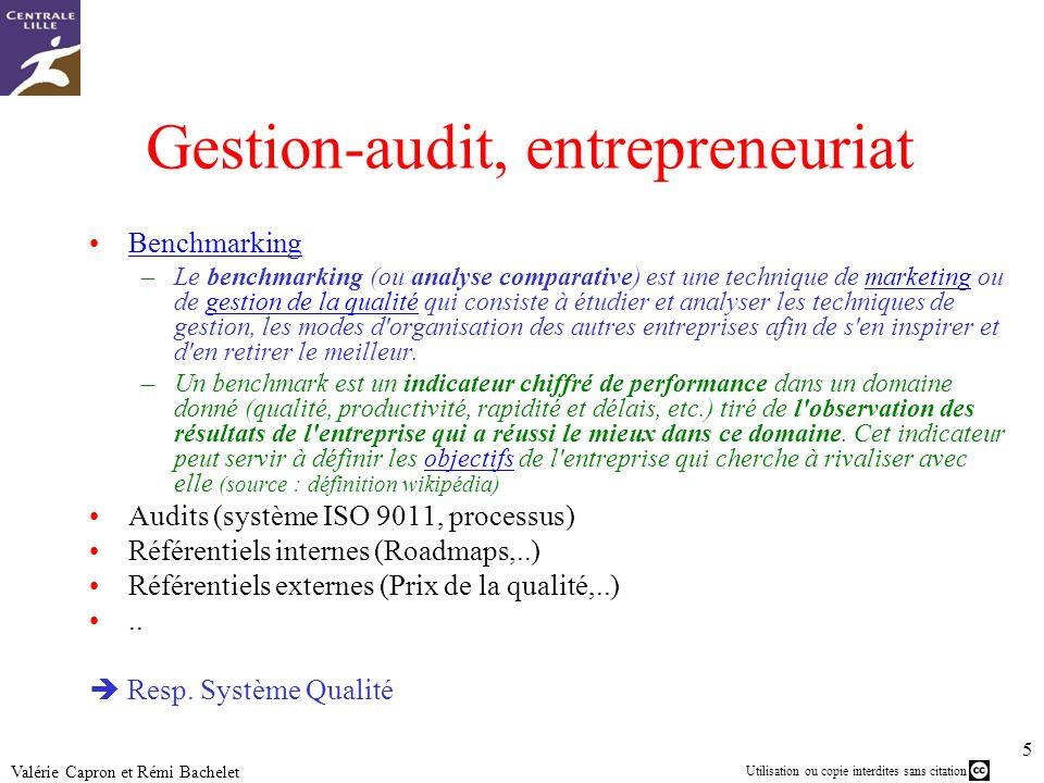 Utilisation ou copie interdites sans citation 5 Valérie Capron et Rémi Bachelet Gestion-audit, entrepreneuriat Benchmarking –Le benchmarking (ou analy