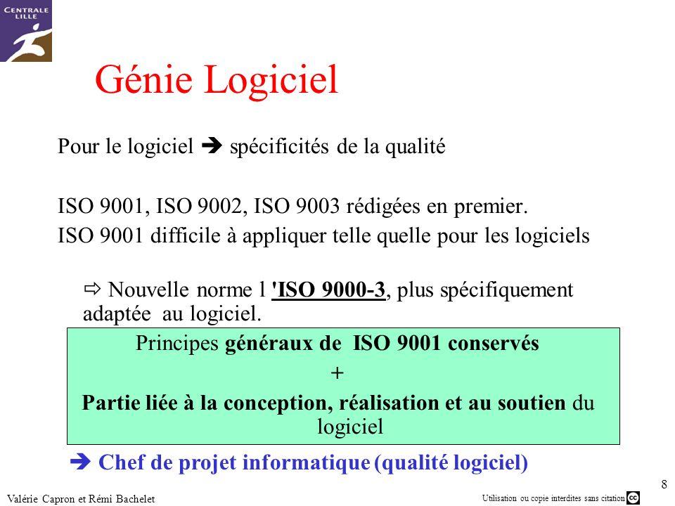 Utilisation ou copie interdites sans citation 8 Valérie Capron et Rémi Bachelet Génie Logiciel Pour le logiciel spécificités de la qualité ISO 9001, I