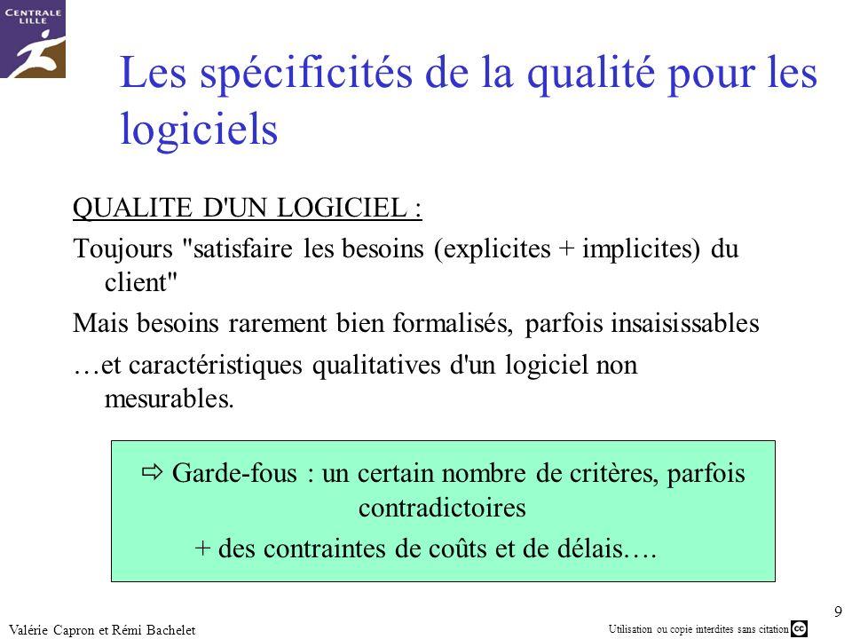 Utilisation ou copie interdites sans citation 9 Valérie Capron et Rémi Bachelet Les spécificités de la qualité pour les logiciels QUALITE D'UN LOGICIE