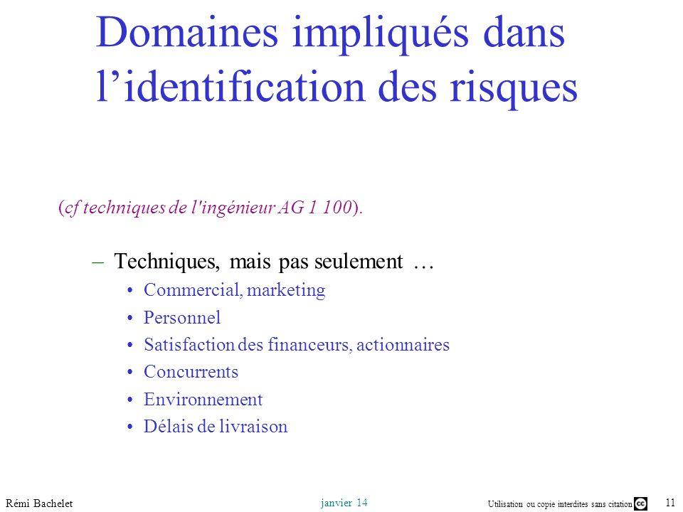 Utilisation ou copie interdites sans citation 11 janvier 14 Rémi Bachelet (cf techniques de l ingénieur AG 1 100).