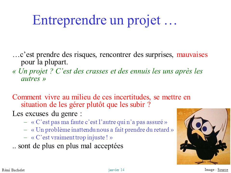 Utilisation ou copie interdites sans citation 3 janvier 14 Rémi Bachelet Entreprendre un projet … …cest prendre des risques, rencontrer des surprises, mauvaises pour la plupart.