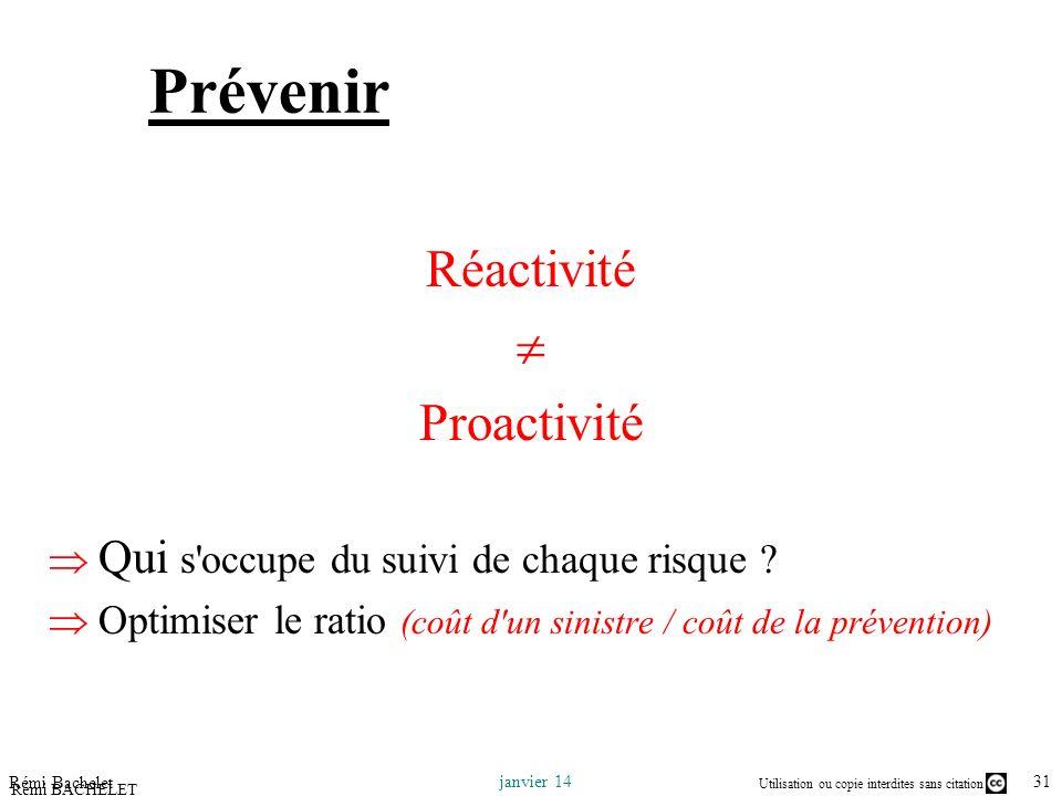 Utilisation ou copie interdites sans citation 31 janvier 14 Rémi Bachelet Rémi BACHELET – Ecole Centrale de Lille Prévenir Réactivité Proactivité Qui s occupe du suivi de chaque risque .