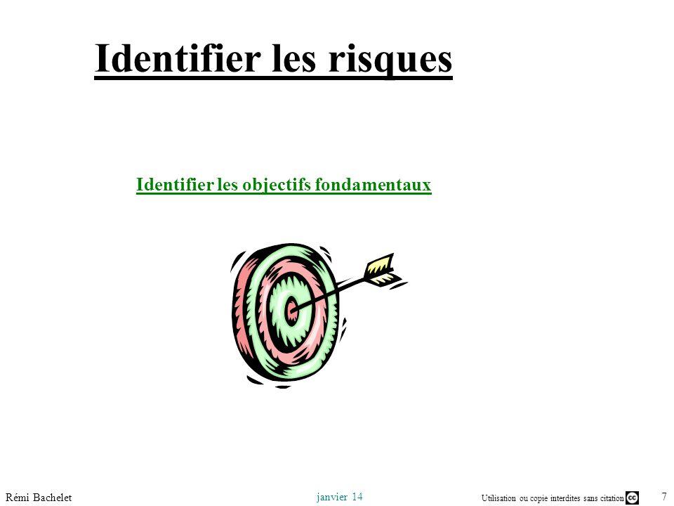 Utilisation ou copie interdites sans citation 7 janvier 14 Rémi Bachelet Identifier les risques Identifier les objectifs fondamentaux