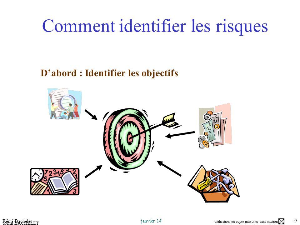 Utilisation ou copie interdites sans citation 9 janvier 14 Rémi Bachelet Rémi BACHELET – Ecole Centrale de Lille Comment identifier les risques Dabord : Identifier les objectifs