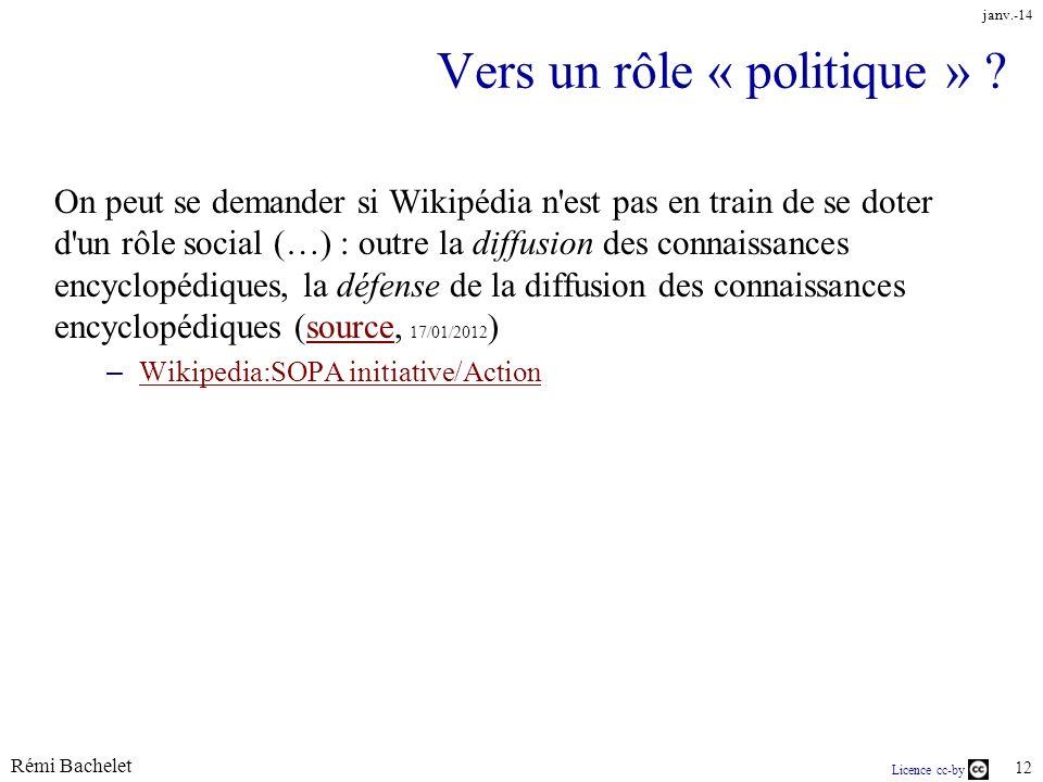 Rémi Bachelet 12 Licence cc-by janv.-14 Vers un rôle « politique » .