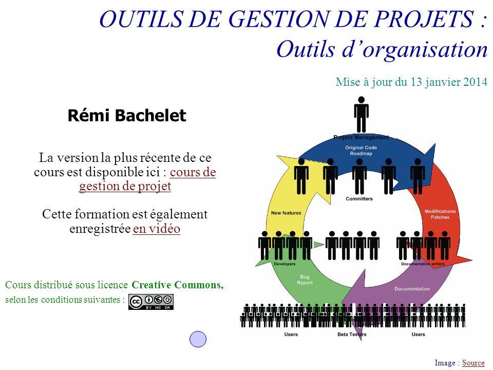 OUTILS DE GESTION DE PROJETS : Outils dorganisation Image : SourceSource Rémi Bachelet Cours distribué sous licence Creative Commons, selon les condit