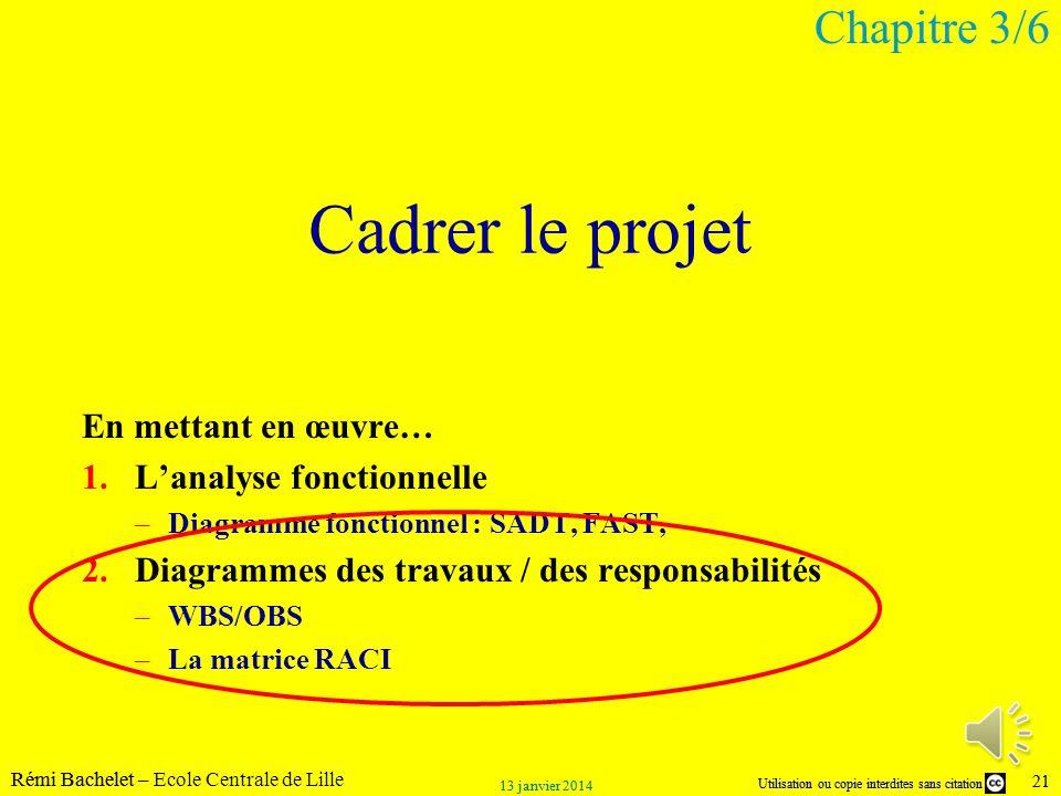 Utilisation ou copie interdites sans citation Rémi Bachelet – Ecole Centrale de Lille 21 13 janvier 2014 Utilisation ou copie interdites sans citation