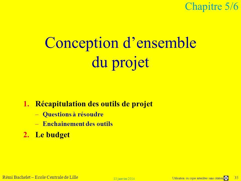 Utilisation ou copie interdites sans citation Rémi Bachelet – Ecole Centrale de Lille 35 13 janvier 2014 Conception densemble du projet 1.Récapitulati