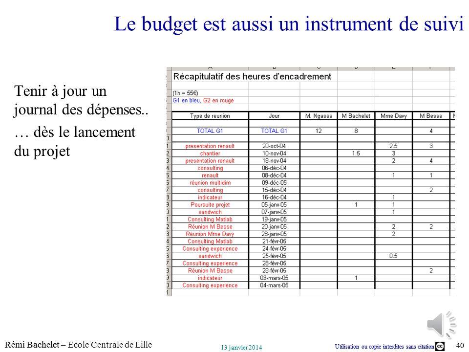 Utilisation ou copie interdites sans citation Rémi Bachelet – Ecole Centrale de Lille 40 13 janvier 2014 Utilisation ou copie interdites sans citation