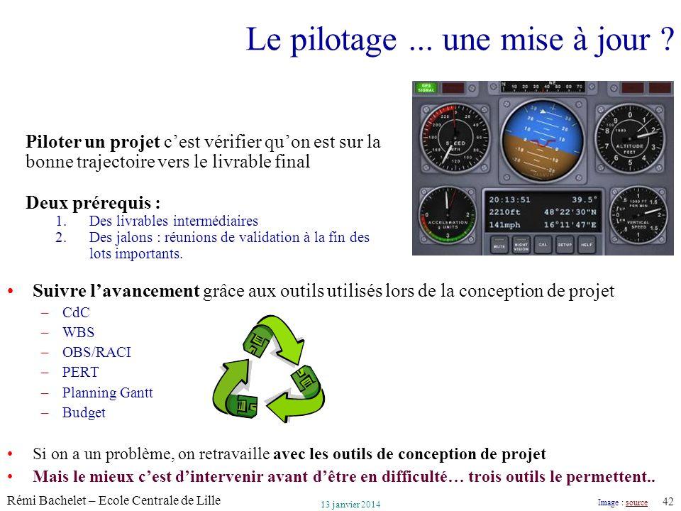 Utilisation ou copie interdites sans citation Rémi Bachelet – Ecole Centrale de Lille 42 13 janvier 2014 Le pilotage... une mise à jour ? Suivre lavan