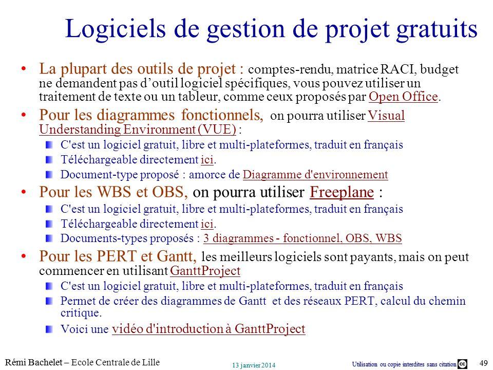 Utilisation ou copie interdites sans citation Rémi Bachelet – Ecole Centrale de Lille 49 13 janvier 2014 Utilisation ou copie interdites sans citation