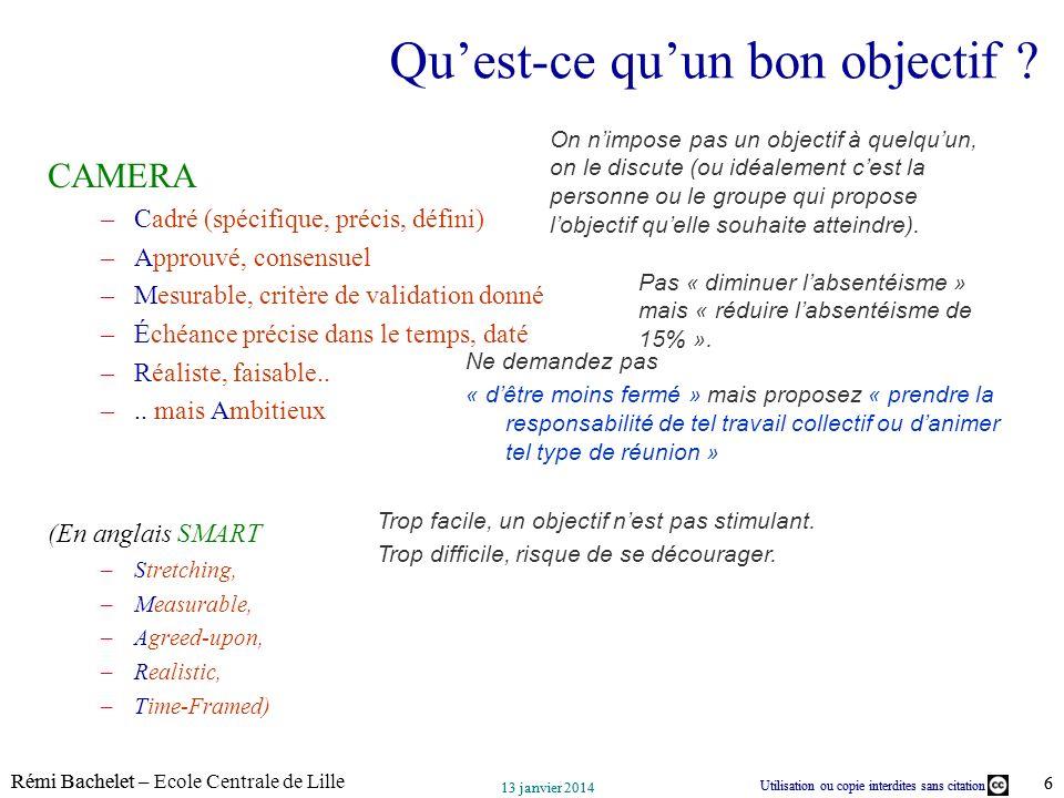 Utilisation ou copie interdites sans citation Rémi Bachelet – Ecole Centrale de Lille 6 13 janvier 2014 Utilisation ou copie interdites sans citation