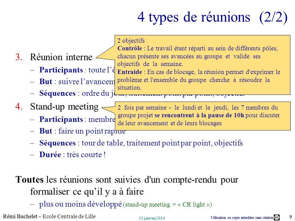 Utilisation ou copie interdites sans citation Rémi Bachelet – Ecole Centrale de Lille 9 13 janvier 2014 Utilisation ou copie interdites sans citation
