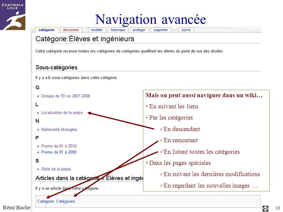Utilisation ou copie interdites sans citation Rémi Bachelet – Ecole Centrale de Lille 10 Navigation avancée Mais on peut aussi naviguer dans un wiki…