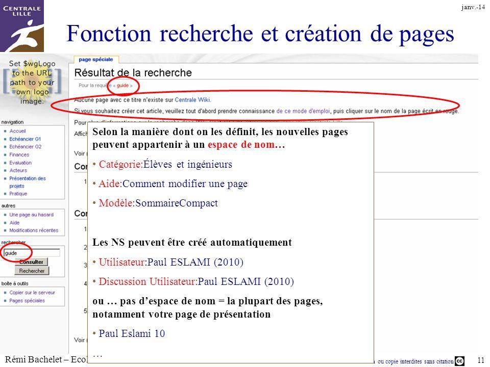 Utilisation ou copie interdites sans citation Rémi Bachelet – Ecole Centrale de Lille 11 Fonction recherche et création de pages janv.-14 Selon la man