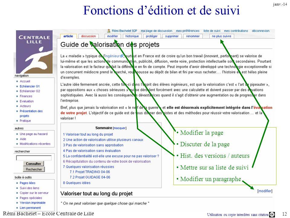 Utilisation ou copie interdites sans citation Rémi Bachelet – Ecole Centrale de Lille 12 janv.-14 Fonctions dédition et de suivi Modifier la page Disc