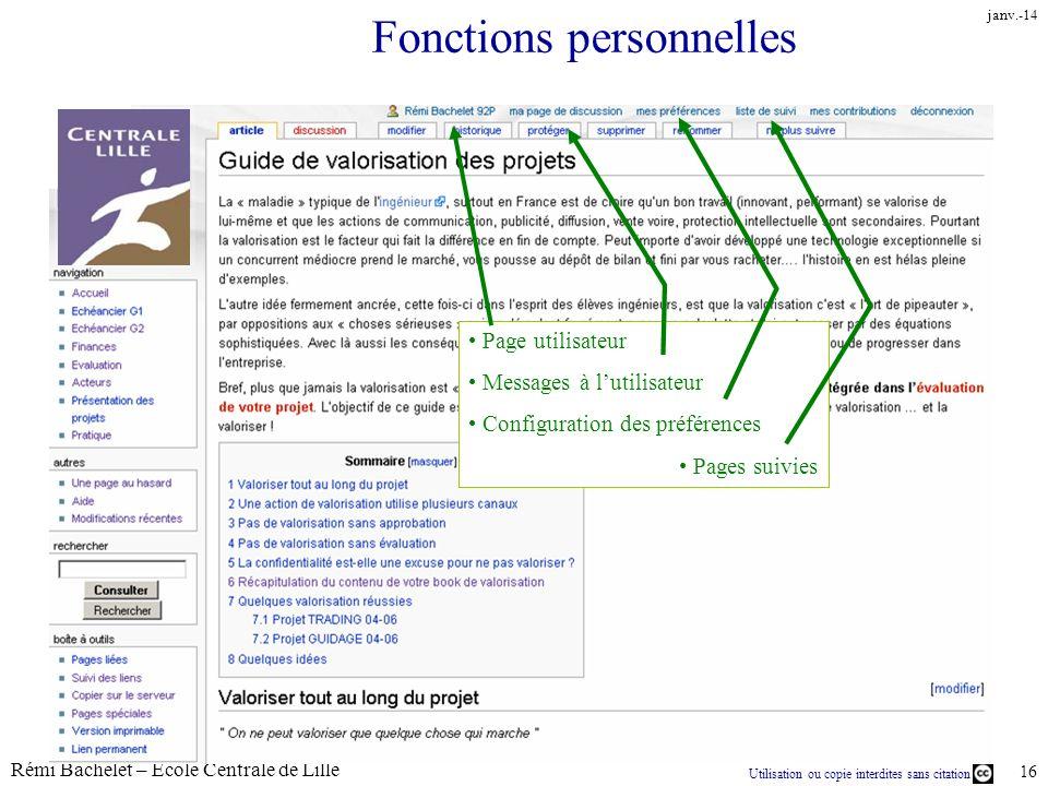 Utilisation ou copie interdites sans citation Rémi Bachelet – Ecole Centrale de Lille 16 janv.-14 Fonctions personnelles Page utilisateur Messages à l