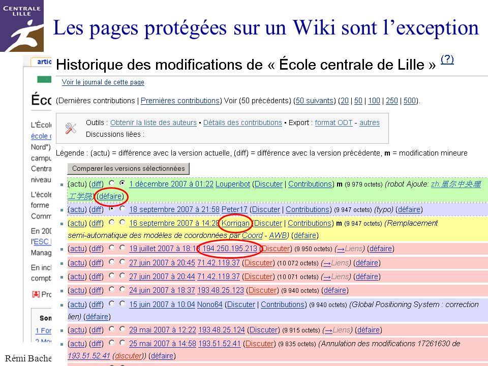 Utilisation ou copie interdites sans citation Rémi Bachelet – Ecole Centrale de Lille 17 Les pages protégées sur un Wiki sont lexception Le contrôle s