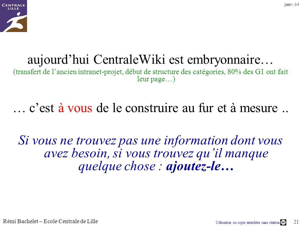 Utilisation ou copie interdites sans citation Rémi Bachelet – Ecole Centrale de Lille 21 janv.-14 aujourdhui CentraleWiki est embryonnaire… (transfert