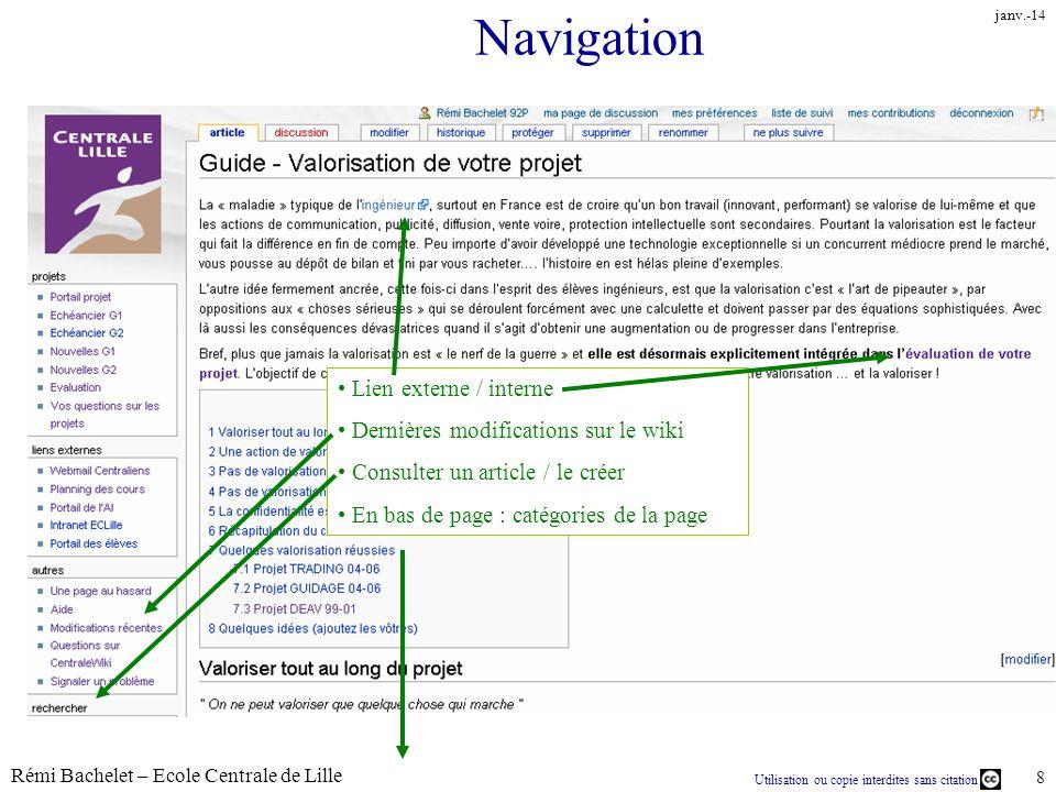 Utilisation ou copie interdites sans citation Rémi Bachelet – Ecole Centrale de Lille 8 janv.-14 Navigation Lien externe / interne Dernières modificat