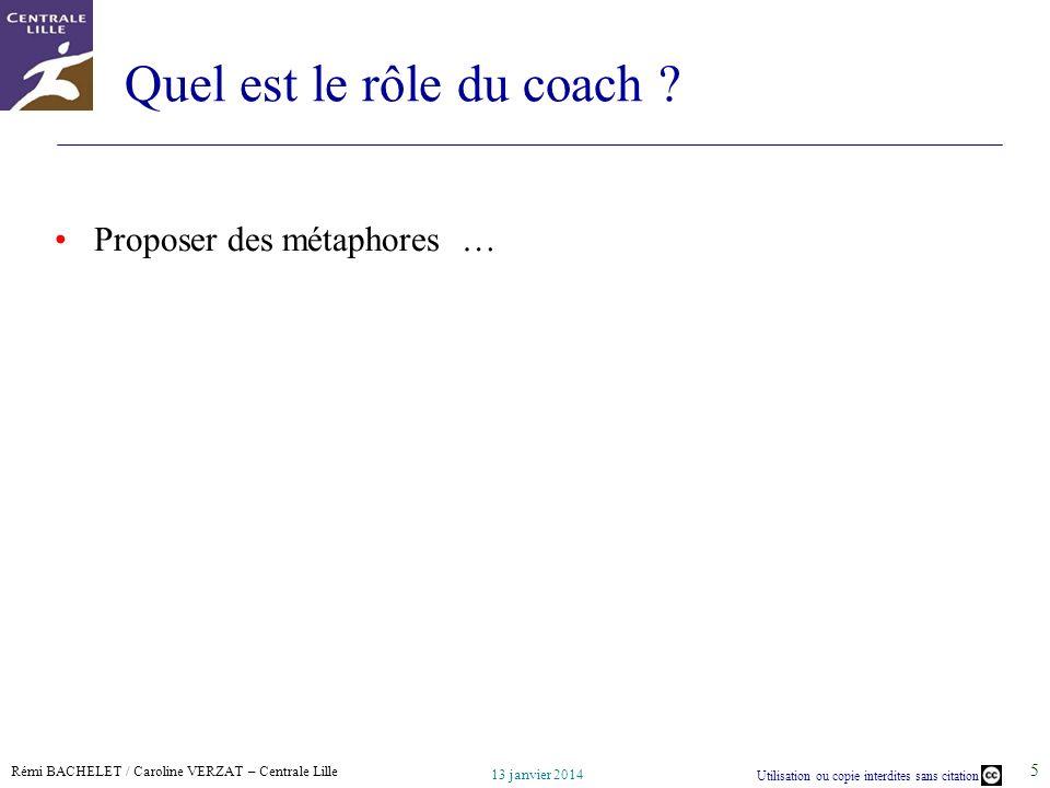 Rémi BACHELET / Caroline VERZAT – Centrale Lille Utilisation ou copie interdites sans citation 13 janvier 2014 5 Quel est le rôle du coach .