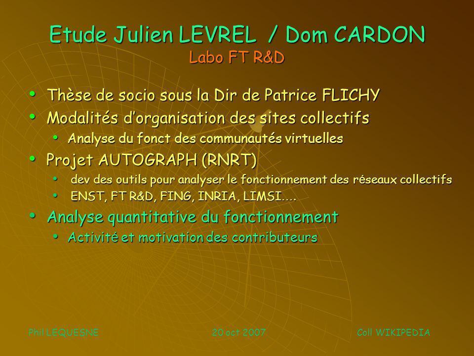 Etude Julien LEVREL / Dom CARDON Labo FT R&D Thèse de socio sous la Dir de Patrice FLICHY Thèse de socio sous la Dir de Patrice FLICHY Modalités dorga