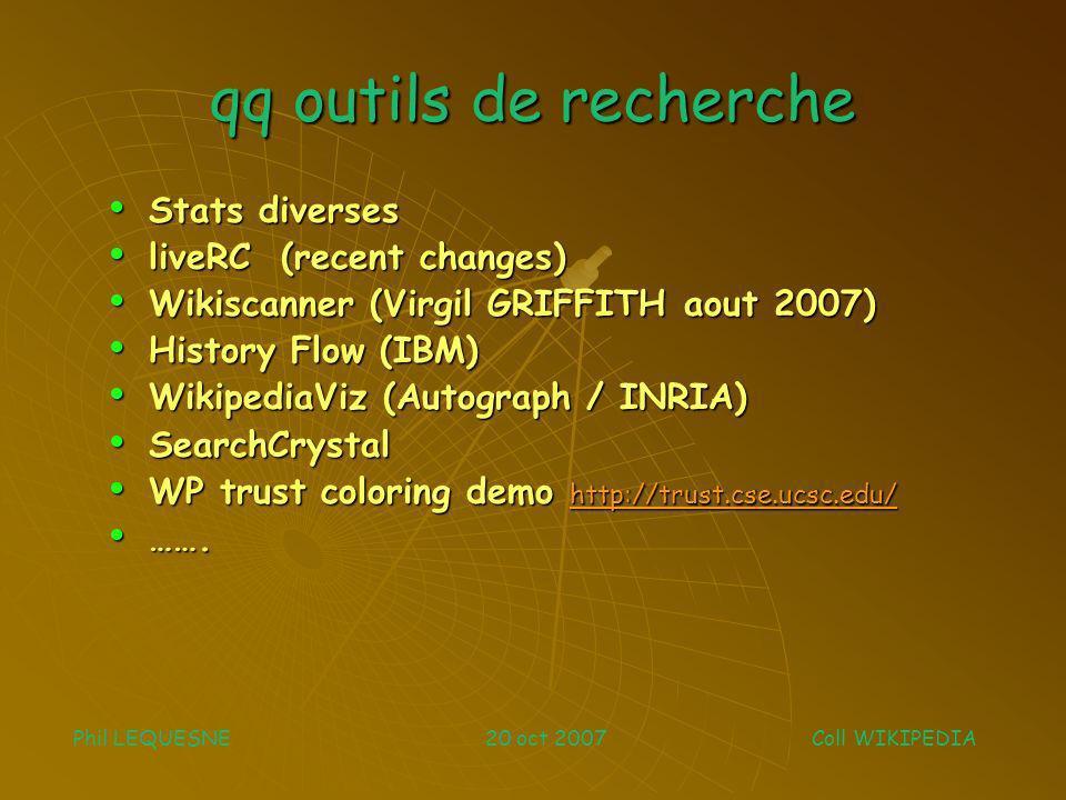 qq outils de recherche Stats diverses Stats diverses liveRC (recent changes) liveRC (recent changes) Wikiscanner (Virgil GRIFFITH aout 2007) Wikiscann