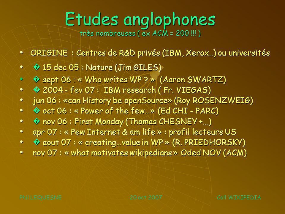 Etudes anglophones très nombreuses ( ex ACM = 200 !!! ) ORIGINE : Centres de R&D privés (IBM, Xerox..) ou universités ORIGINE : Centres de R&D privés