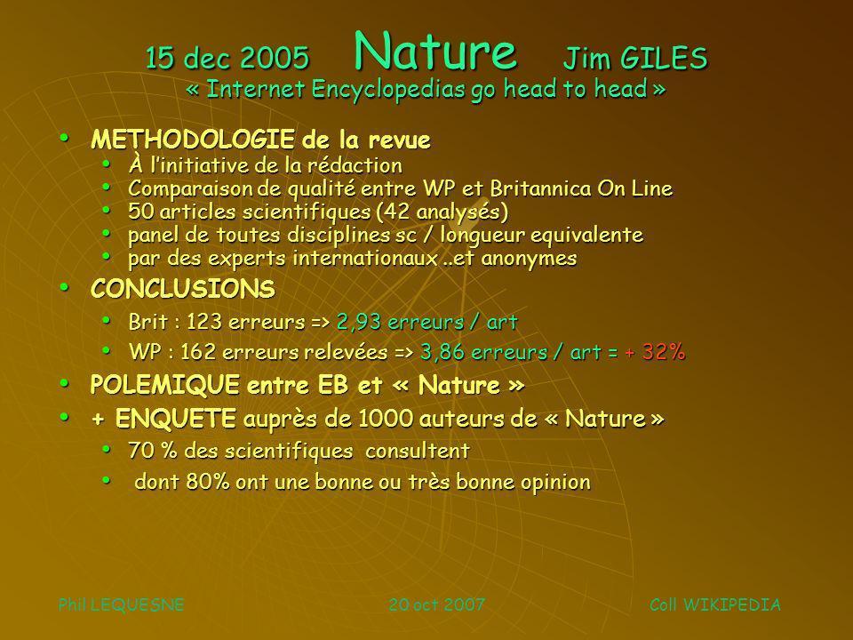15 dec 2005 Nature Jim GILES « Internet Encyclopedias go head to head » METHODOLOGIE de la revue METHODOLOGIE de la revue À linitiative de la rédactio
