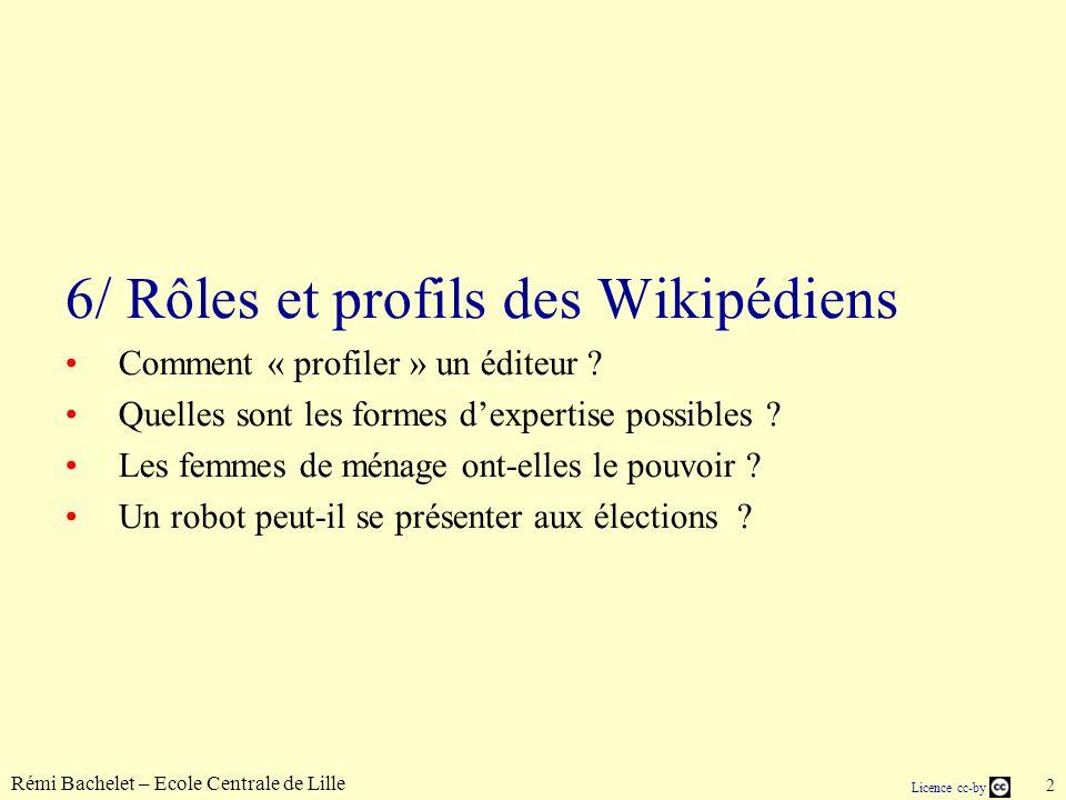 Rémi Bachelet – Ecole Centrale de Lille 2 Licence cc-by 6/ Rôles et profils des Wikipédiens Comment « profiler » un éditeur .