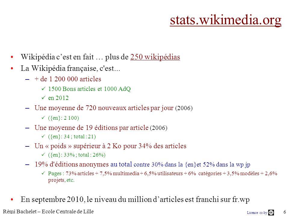Rémi Bachelet – Ecole Centrale de Lille 6 Licence cc-by stats.wikimedia.org Wikipédia cest en fait … plus de 250 wikipédias250 wikipédias La Wikipédia française, c est...