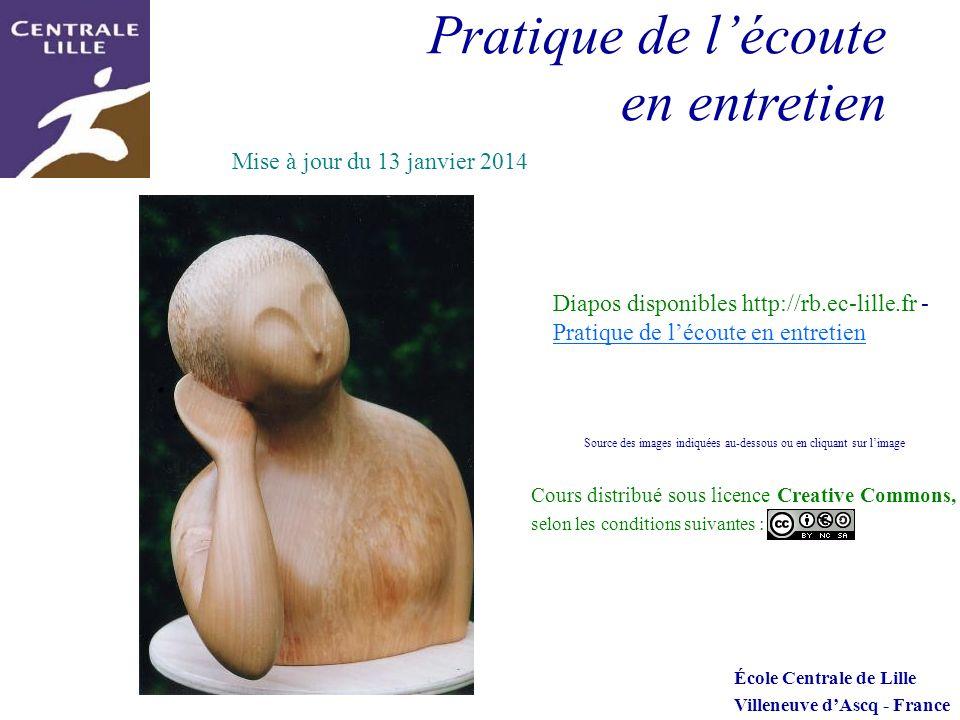 Pratique de lécoute en entretien École Centrale de Lille Villeneuve dAscq - France Cours distribué sous licence Creative Commons, selon les conditions