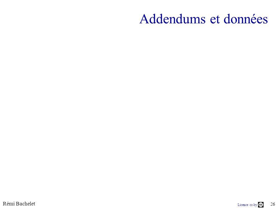 Licence cc-by Rémi Bachelet 26 Addendums et données