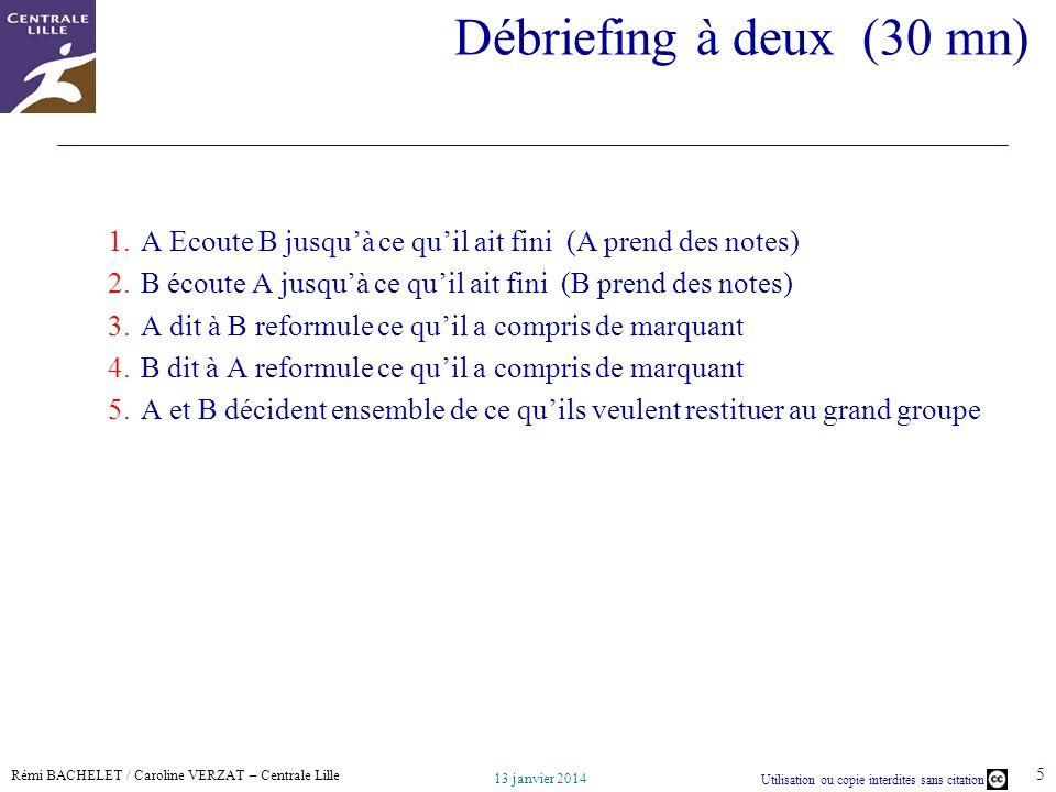 Rémi BACHELET / Caroline VERZAT – Centrale Lille Utilisation ou copie interdites sans citation 13 janvier 2014 5 Débriefing à deux (30 mn) 1.A Ecoute