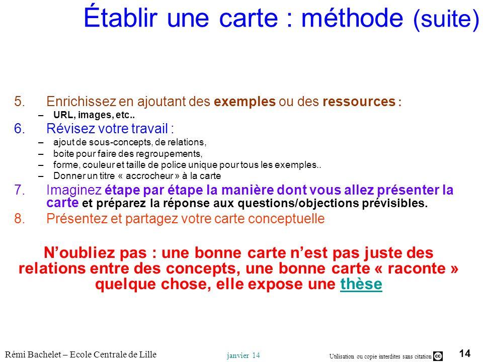 14 Utilisation ou copie interdites sans citation Rémi Bachelet – Ecole Centrale de Lille janvier 14 Établir une carte : méthode (suite) 5.Enrichissez