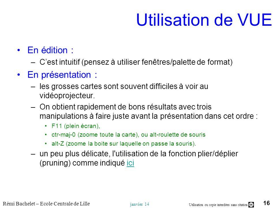 16 Utilisation ou copie interdites sans citation Rémi Bachelet – Ecole Centrale de Lille janvier 14 Utilisation de VUE En édition : –Cest intuitif (pe
