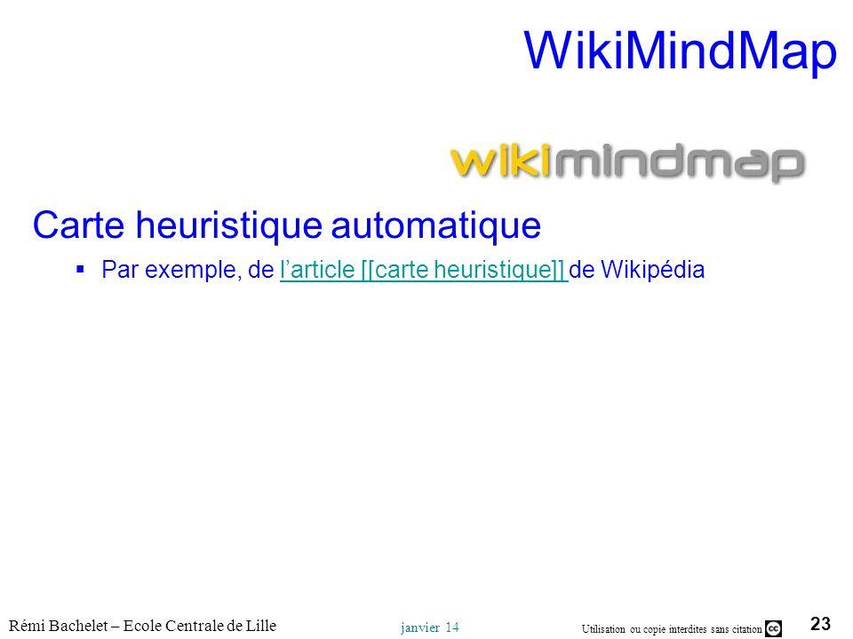 23 Utilisation ou copie interdites sans citation Rémi Bachelet – Ecole Centrale de Lille janvier 14 WikiMindMap Carte heuristique automatique Par exem