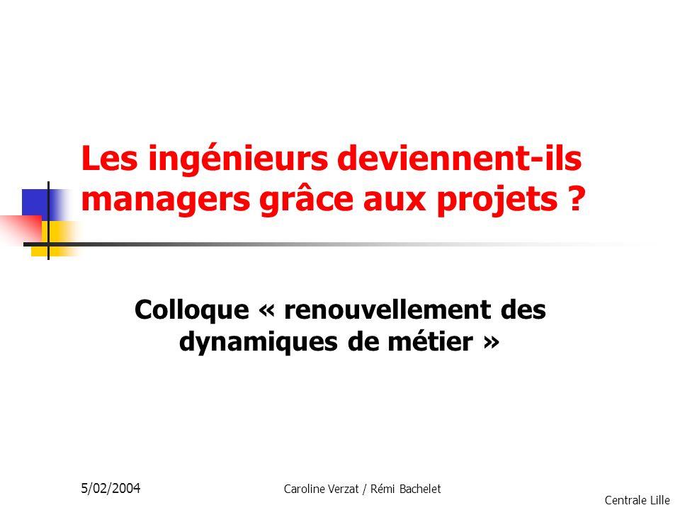 Centrale Lille 5/02/2004 Caroline Verzat / Rémi Bachelet Les ingénieurs deviennent-ils managers grâce aux projets ? Colloque « renouvellement des dyna