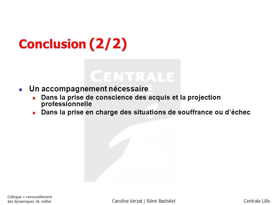 Centrale Lille Colloque « renouvellement des dynamiques de métier Caroline Verzat / Rémi Bachelet Conclusion (2/2) Un accompagnement nécessaire Dans l