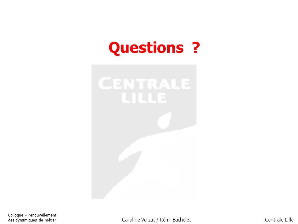 Centrale Lille Colloque « renouvellement des dynamiques de métier Caroline Verzat / Rémi Bachelet Questions ?