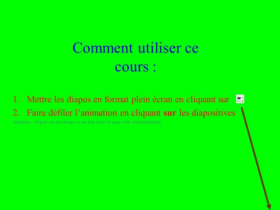Utilisation ou copie interdites sans citation 13 janvier 2014 Comment utiliser ce cours : 1.Mettre les diapos en format plein écran en cliquant sur 2.