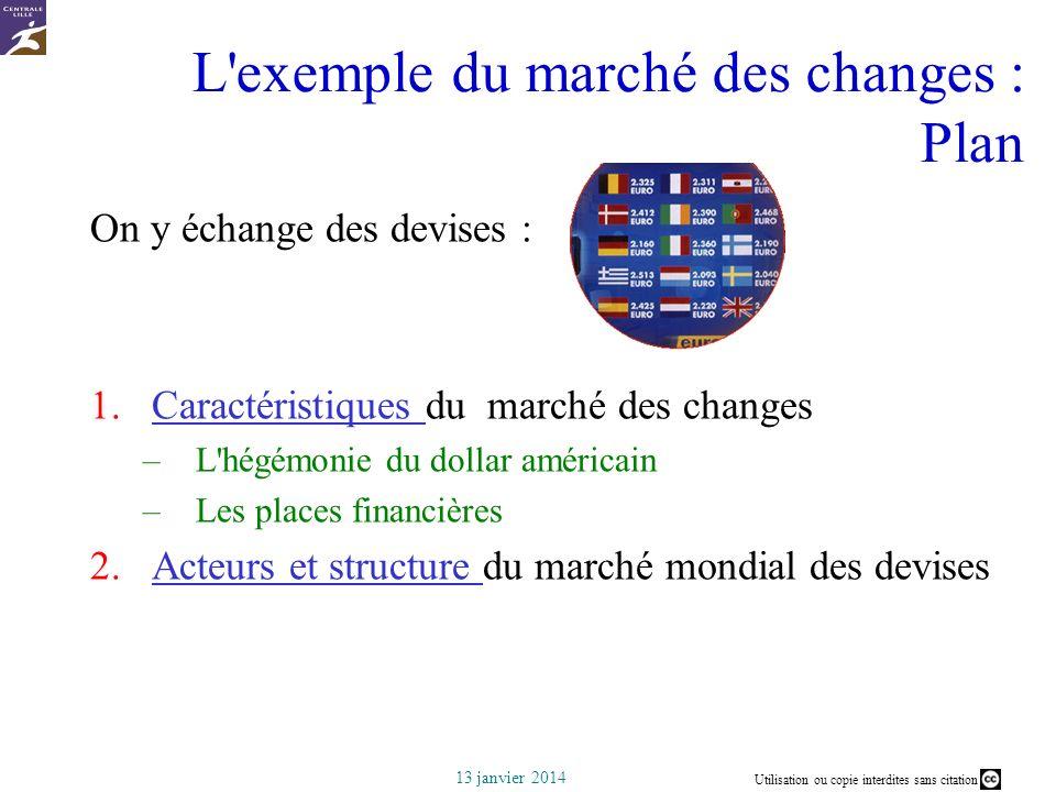 Utilisation ou copie interdites sans citation 13 janvier 2014 L'exemple du marché des changes : Plan On y échange des devises : 1.Caractéristiques du