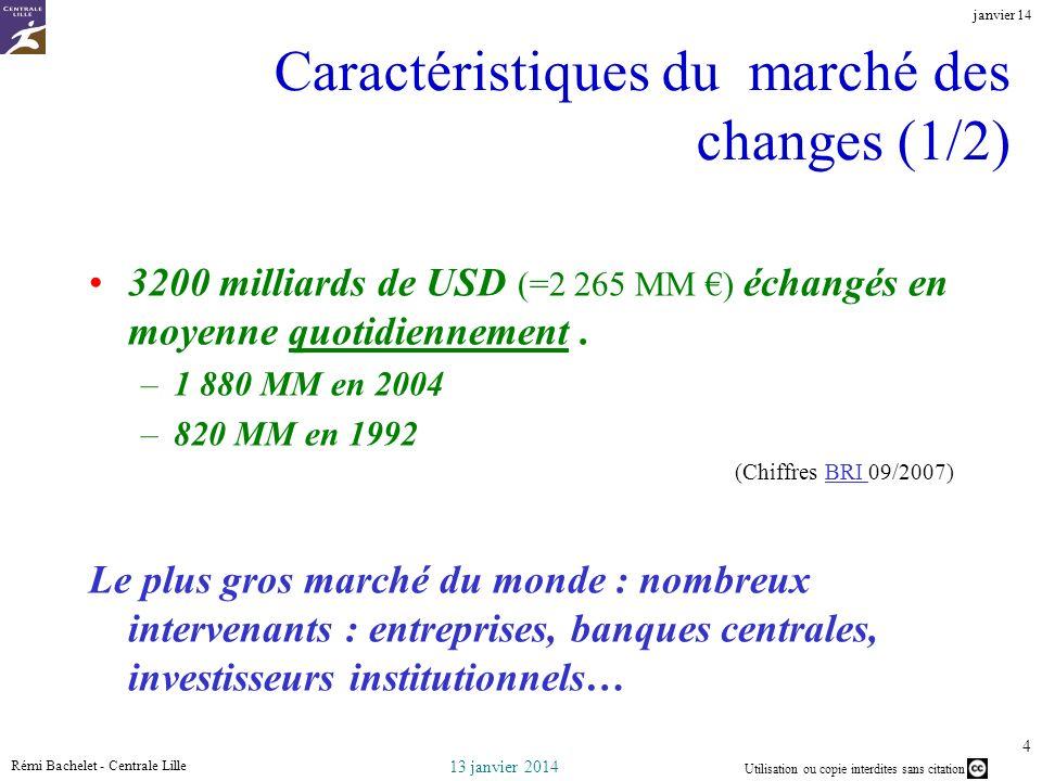 Utilisation ou copie interdites sans citation 13 janvier 2014 janvier 14 Rémi Bachelet - Centrale Lille 4 Caractéristiques du marché des changes (1/2) 3200 milliards de USD (=2 265 MM ) échangés en moyenne quotidiennement.