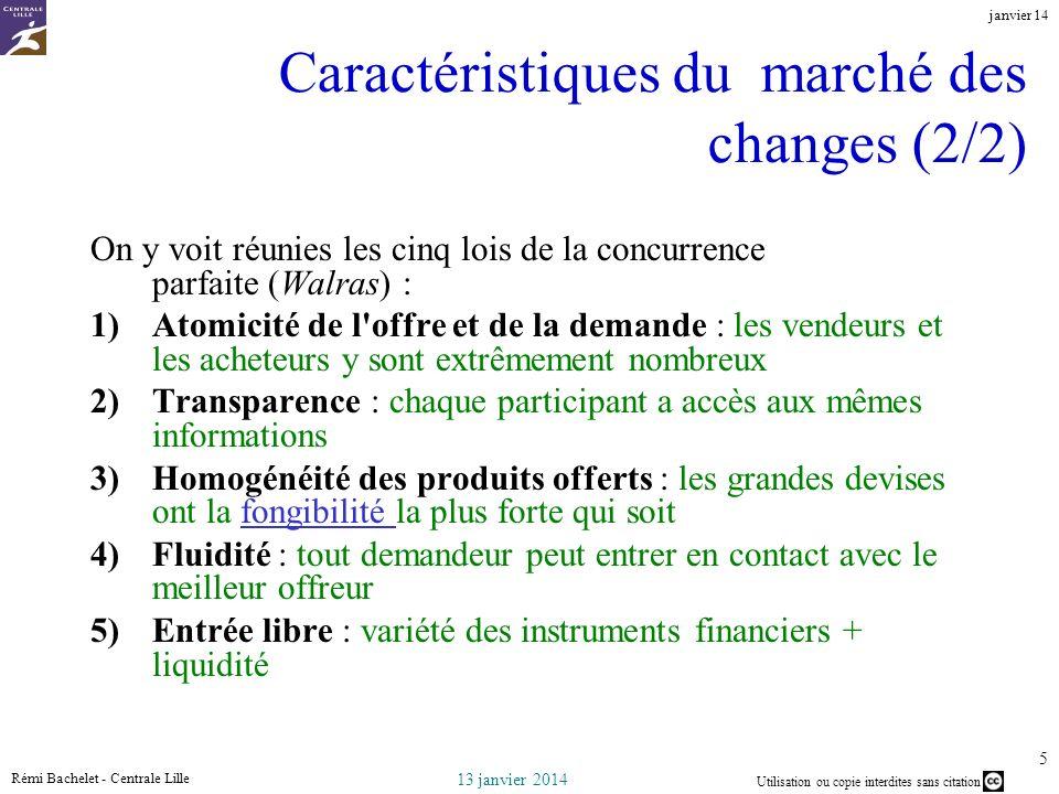 Utilisation ou copie interdites sans citation 13 janvier 2014 janvier 14 Rémi Bachelet - Centrale Lille 5 Caractéristiques du marché des changes (2/2)