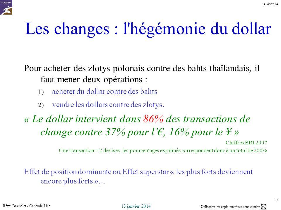 Utilisation ou copie interdites sans citation 13 janvier 2014 janvier 14 Rémi Bachelet - Centrale Lille 7 Les changes : l'hégémonie du dollar Pour ach