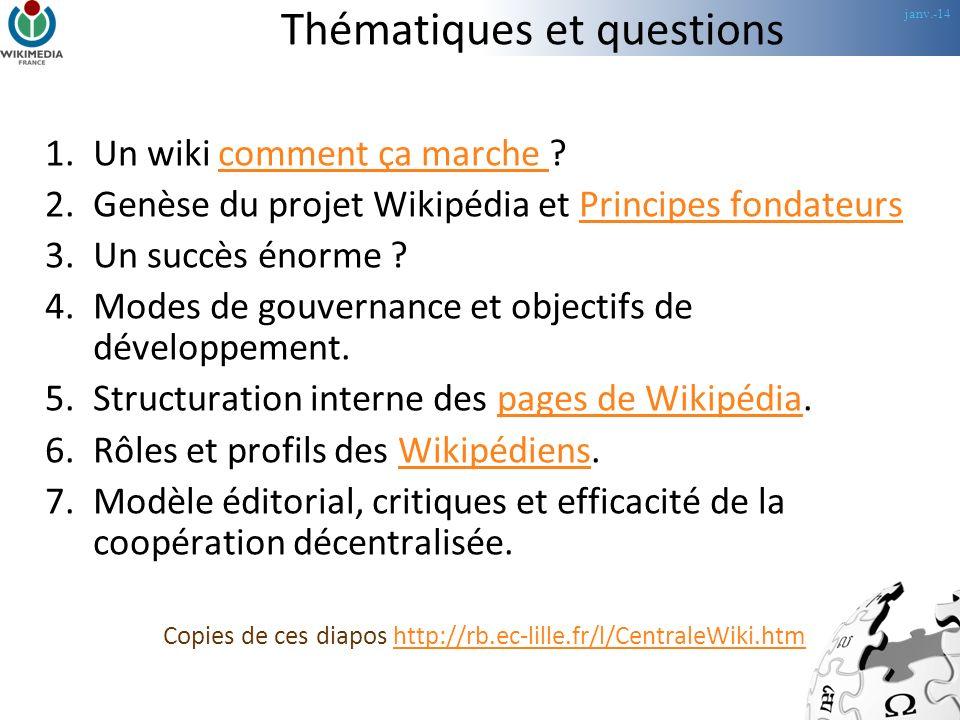 janv.-14 Thématiques et questions 1.Un wiki comment ça marche comment ça marche 2.Genèse du projet Wikipédia et Principes fondateursPrincipes fondateurs 3.Un succès énorme .