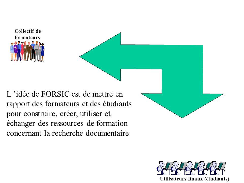 Collectif de formateurs Utilisateurs finaux (étudiants) L idée de FORSIC est de mettre en rapport des formateurs et des étudiants pour construire, créer, utiliser et échanger des ressources de formation concernant la recherche documentaire
