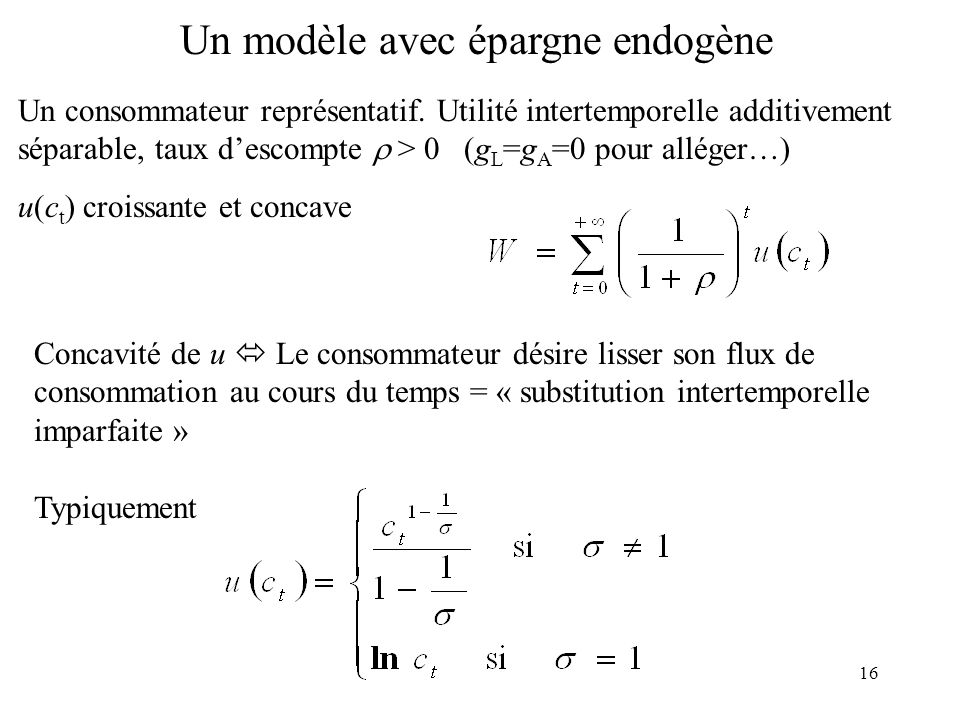 16 Un modèle avec épargne endogène Un consommateur représentatif. Utilité intertemporelle additivement séparable, taux descompte > 0 (g L =g A =0 pour
